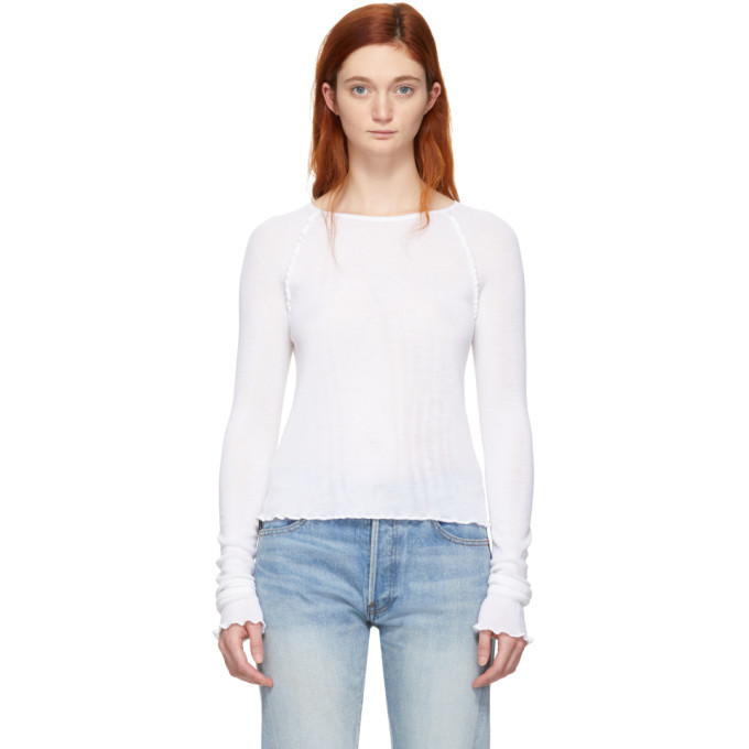 alexanderwang.t White Wool Wash and Go Long Sleeve T-Shirt