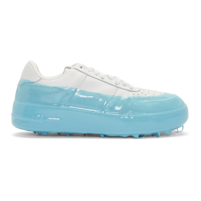 Photo: 424 Off-White and Blue Dipped Sneakers
