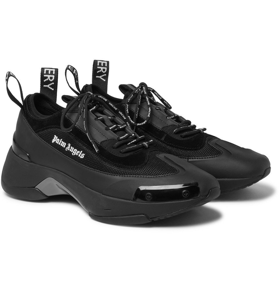 Photo: Palm Angels - Recovery Leather, Suede and Mesh Sneakers - Black