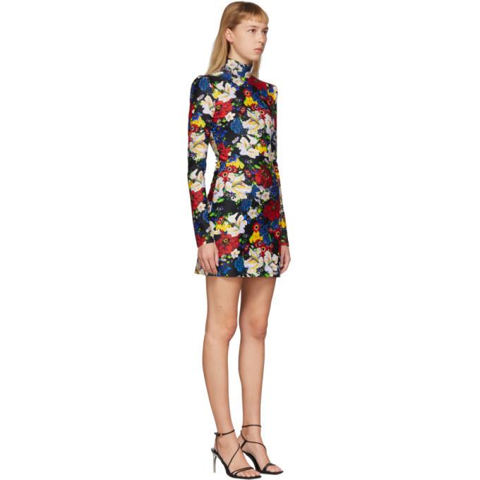 Versace SSENSE Exclusive Multicolor Floral Turtleneck Long Sleeve Dress