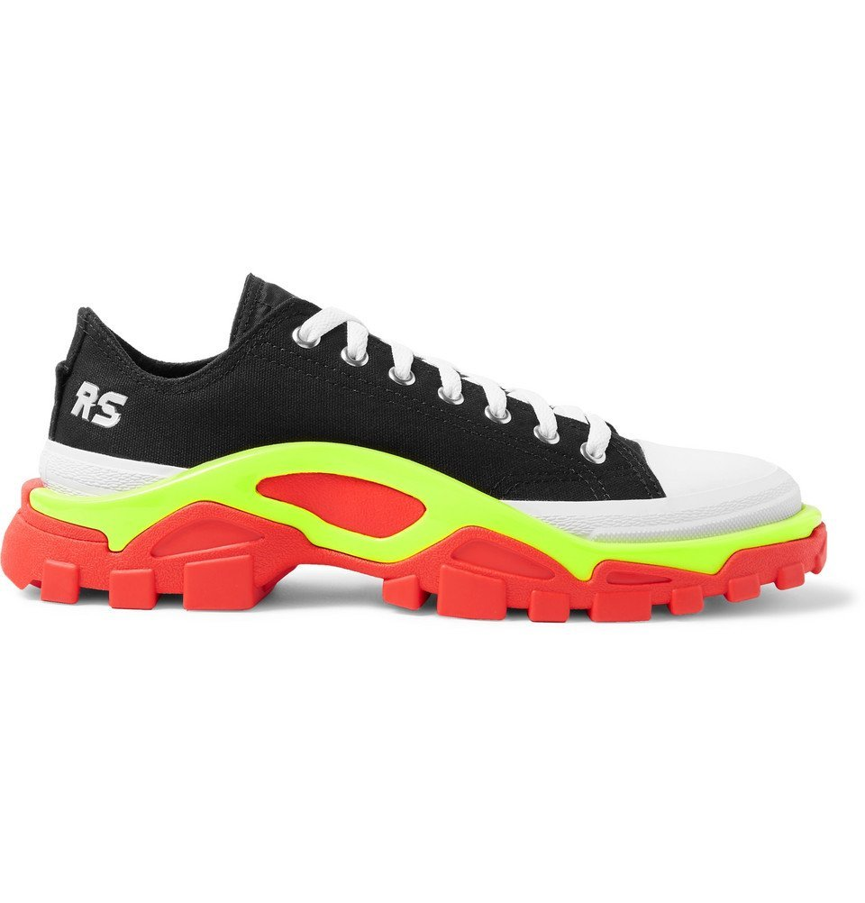 Photo: Raf Simons - adidas Originals Detroit Runner Rubber-Trimmed Canvas Sneakers - Black