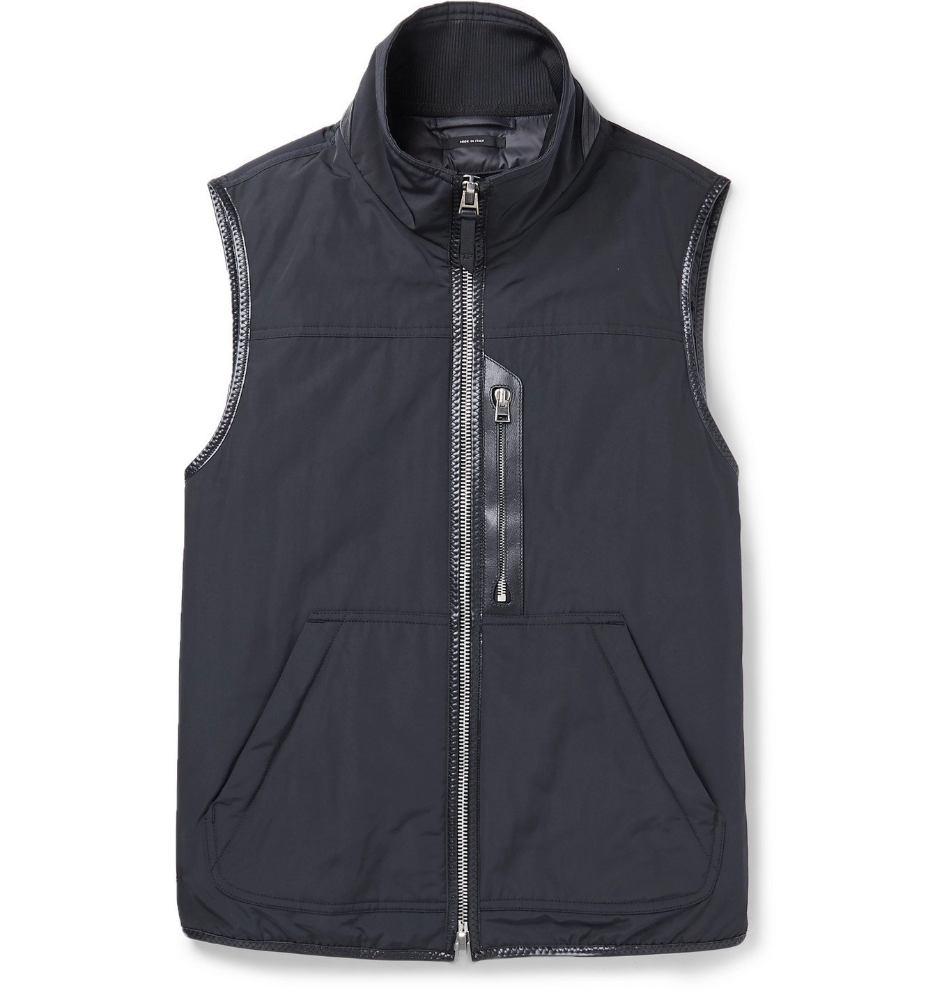 TOM FORD - Leather-Trimmed Padded Shell Down Gilet - Black