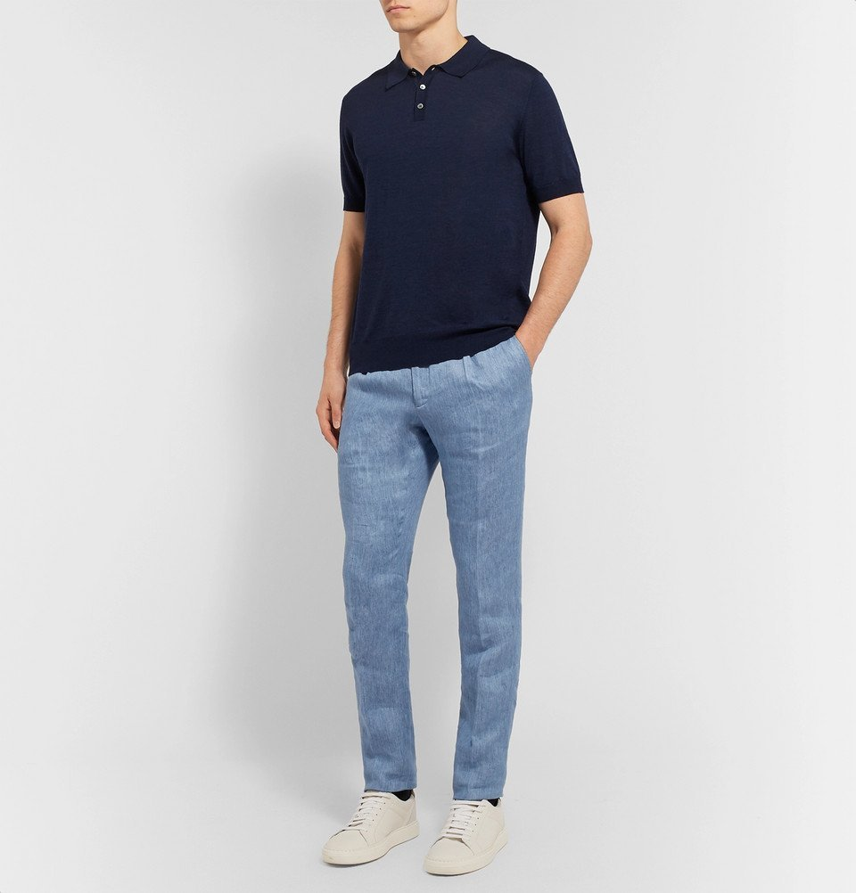 Tod's - Merino Wool and Silk-Blend Polo Shirt - Navy