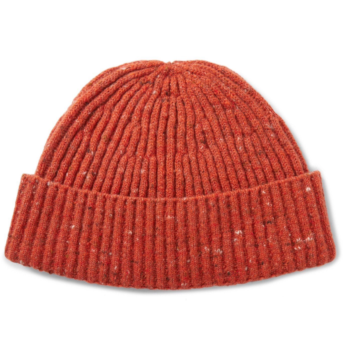 Photo: Brunello Cucinelli - Ribbed Mélange Cashmere Beanie Hat - Orange