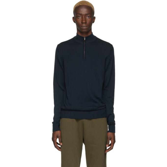 Photo: Sunspel Navy Merino Wool Half-Zip Sweater