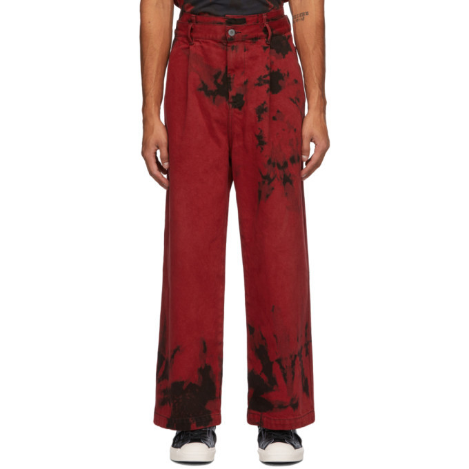 Photo: Feng Chen Wang Red and Black Tie-Dye Cargo Pants