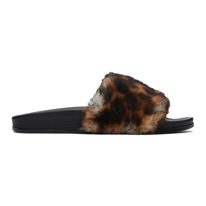 Photo: VETEMENTS Brown and Black Shearling Leopard Slides