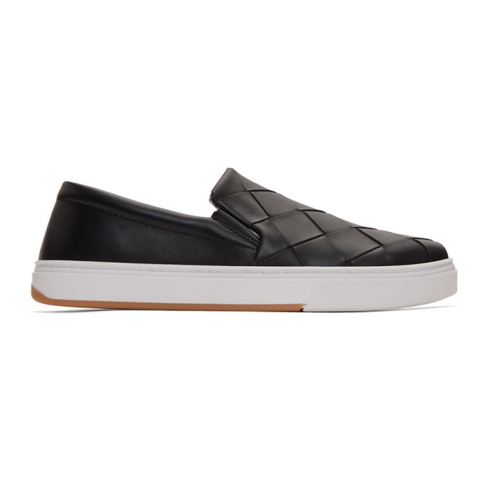 Photo: Bottega Veneta Black Maxi Intrecciato Slip-On Sneakers