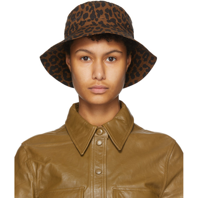 Photo: GANNI Black and Brown Leopard Bucket Hat