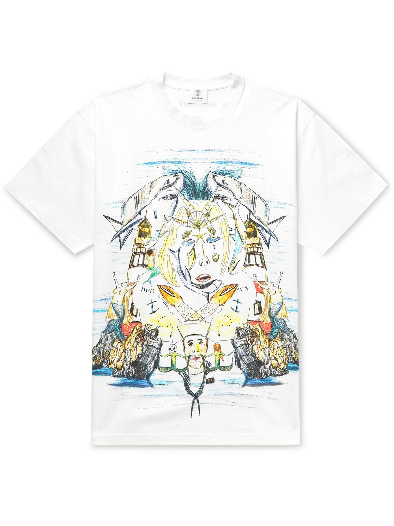 Photo: BURBERRY - Oversized Printed Cotton-Jersey T-Shirt - White - XS