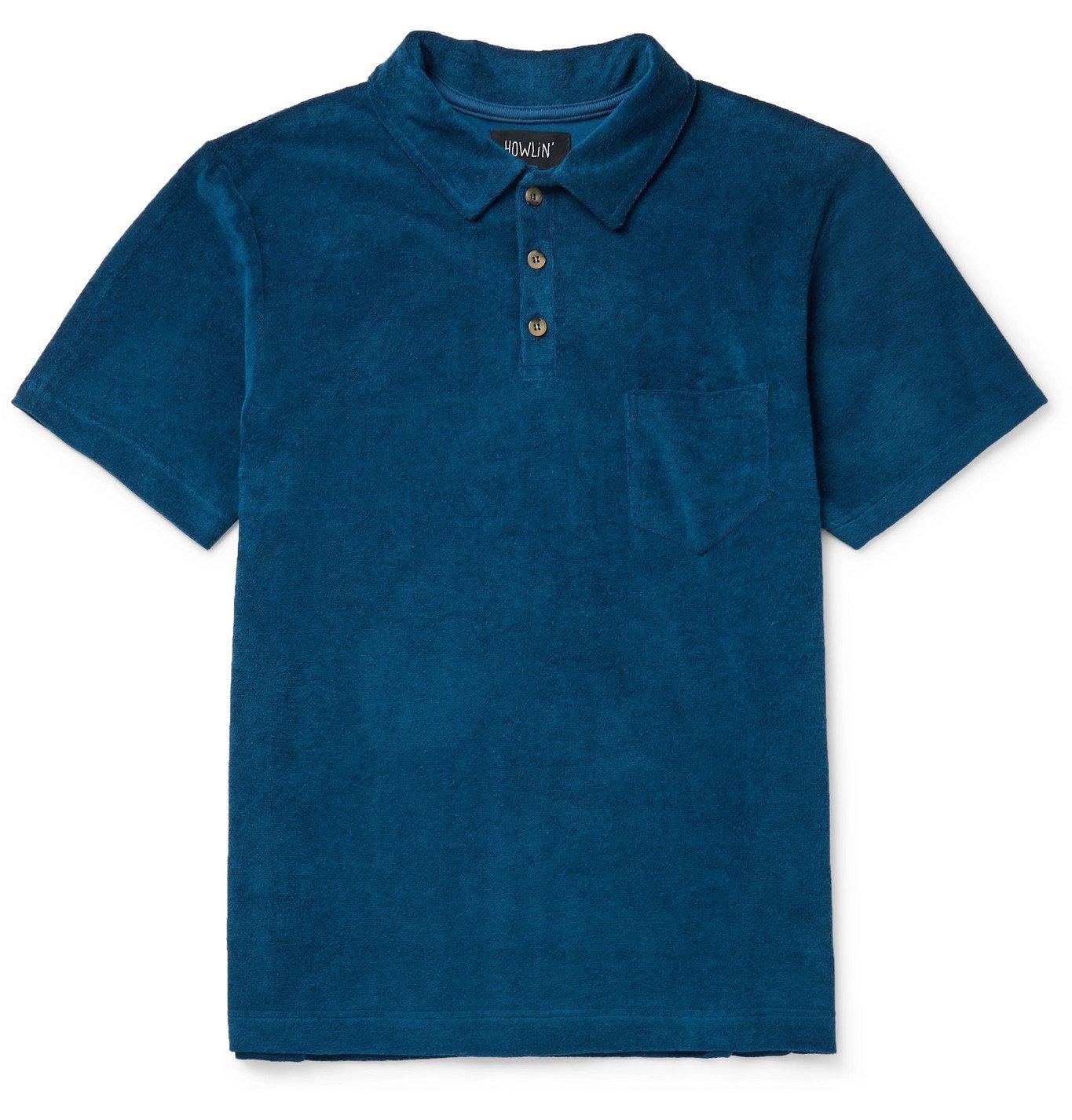 Photo: Howlin' - Mr Fantasy Cotton-Blend Terry Polo Shirt - Blue