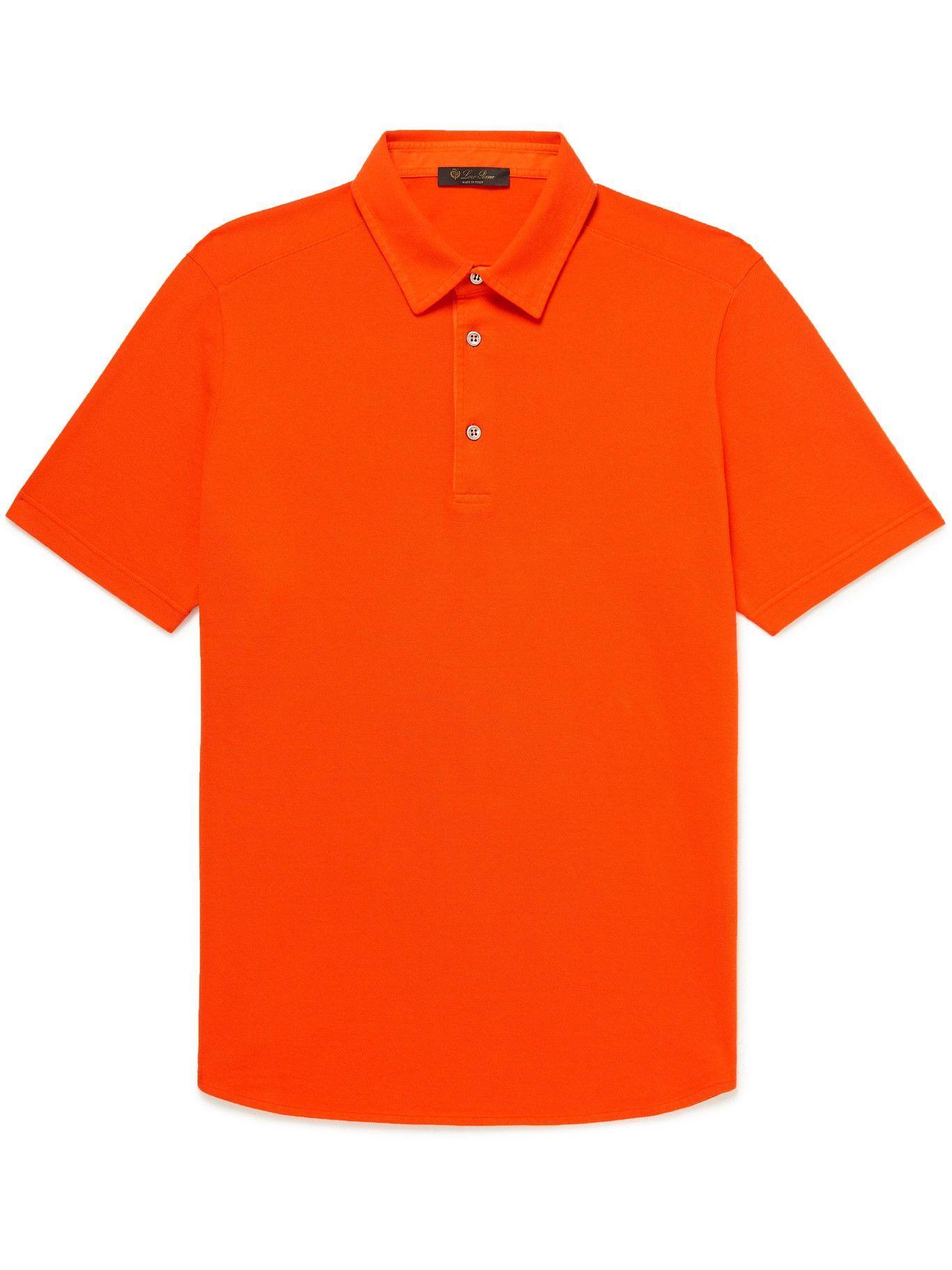 Photo: Loro Piana - Cotton-Piqué Polo Shirt - Orange