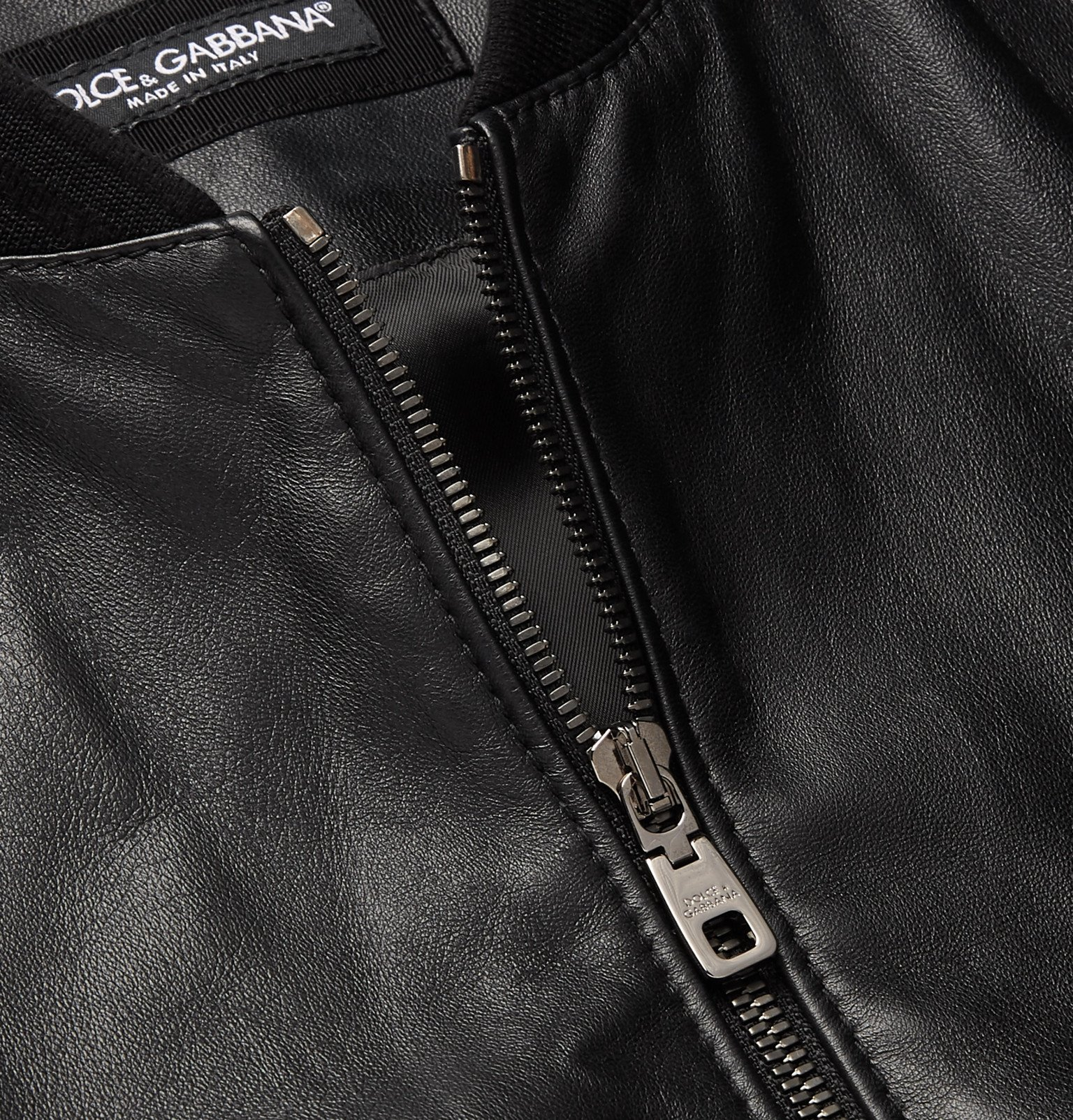 Dolce & Gabbana - Leather Bomber Jacket - Black