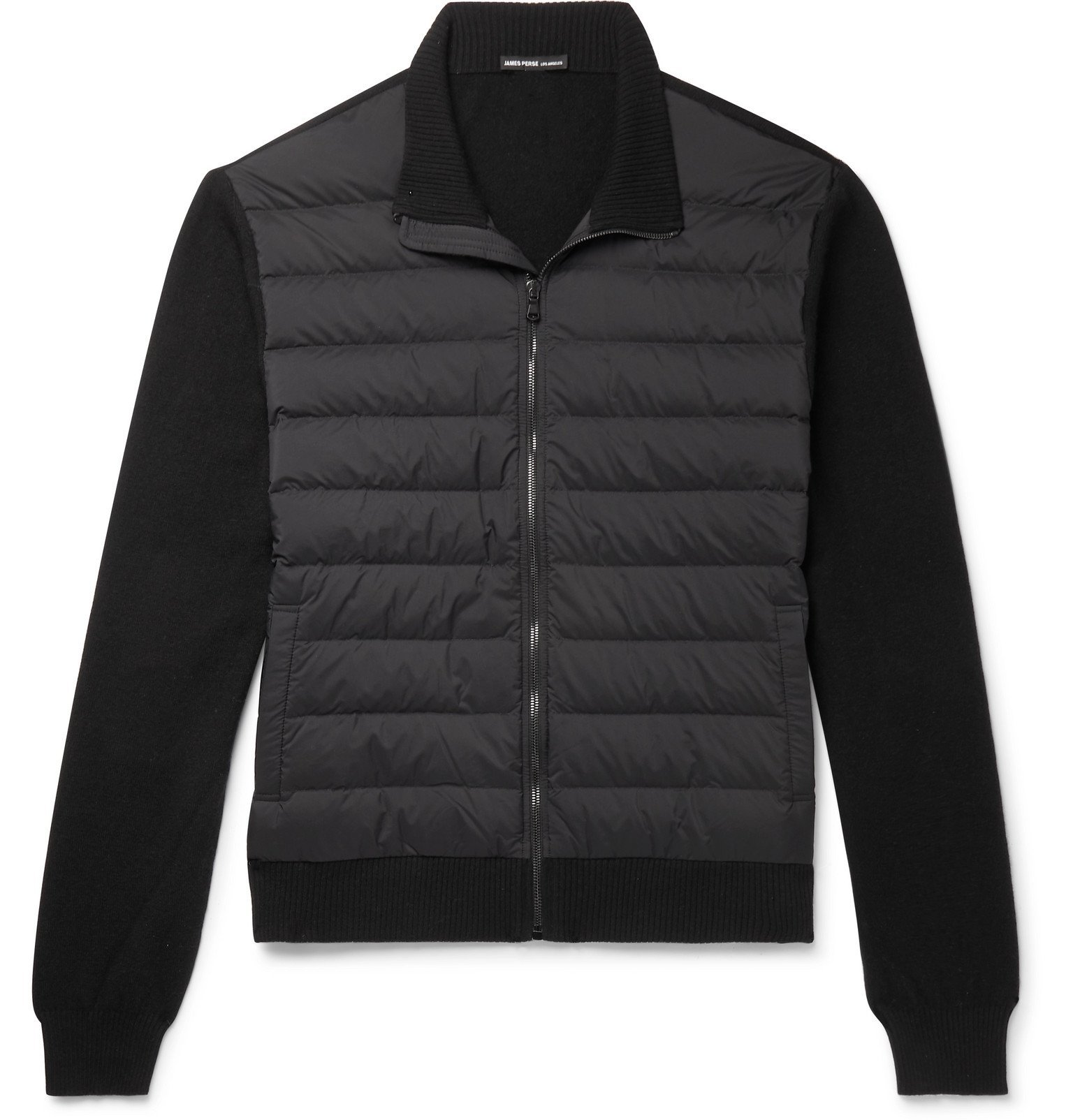 Photo: James Perse - Shell-Panelled Merino Wool and Cashmere-Blend Down Jacket - Black