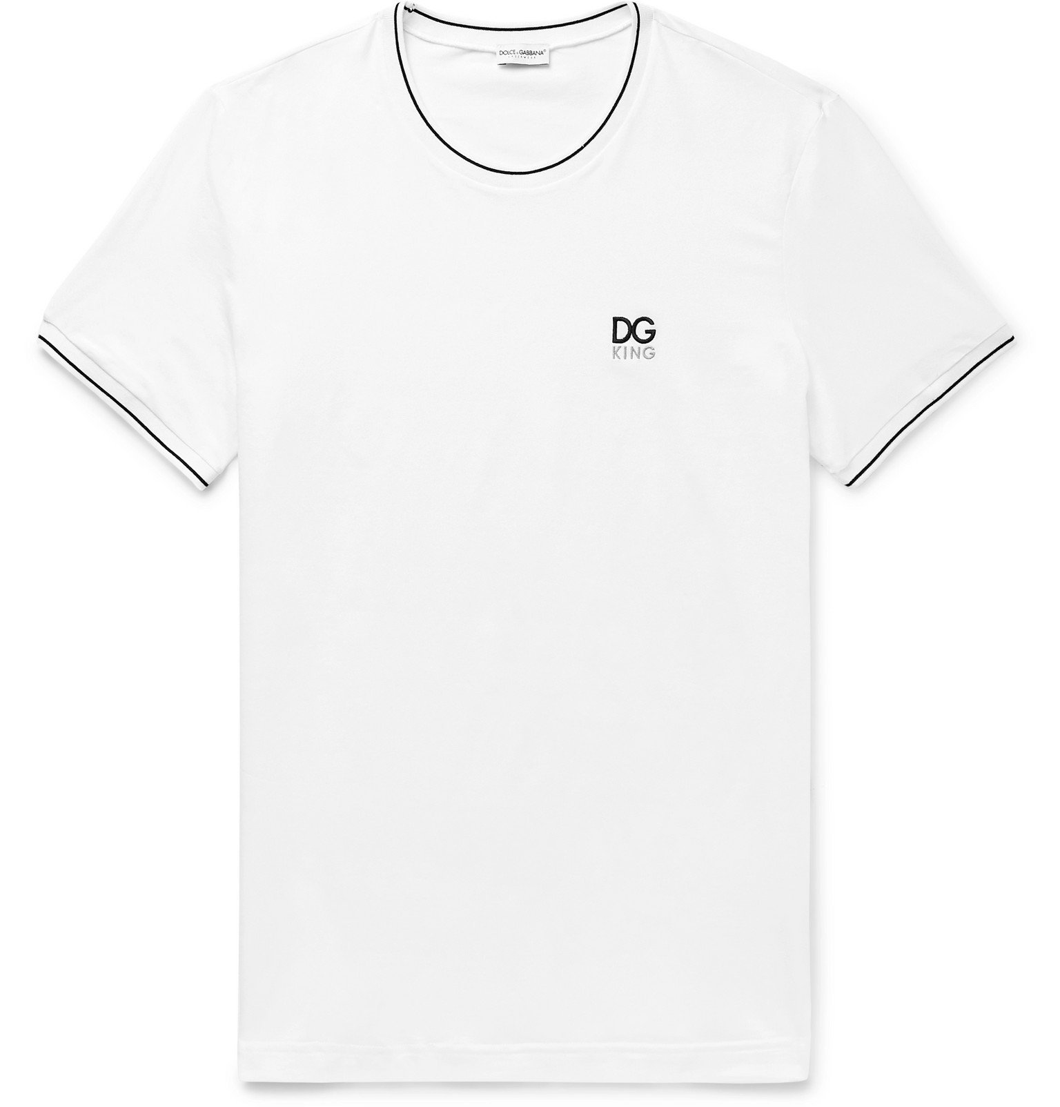 Photo: Dolce & Gabbana - Contrast-Tipped Logo-Embroidered Stretch-Cotton Jersey T-Shirt - White