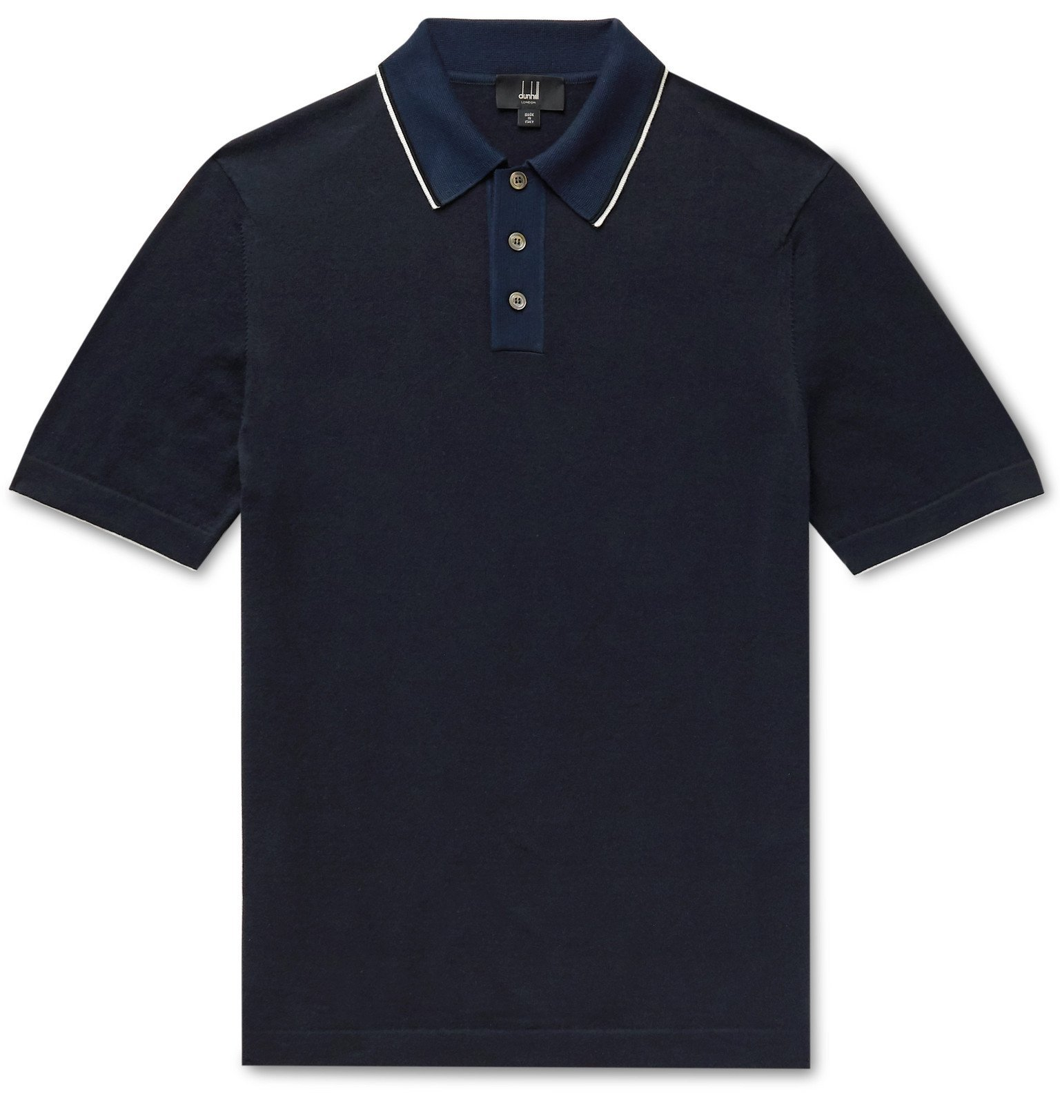 Dunhill - Slim-Fit Silk-Trimmed Cotton Polo Shirt - Blue