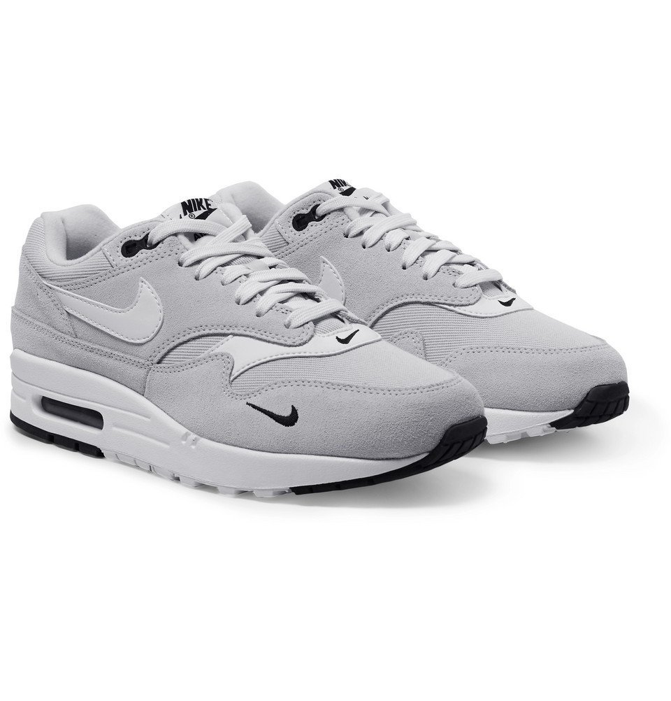 Rancio Pelágico Por nombre  Nike - Air Max 1 Premium Leather-Trimmed Suede and Mesh Sneakers - Men -  Gray Nike