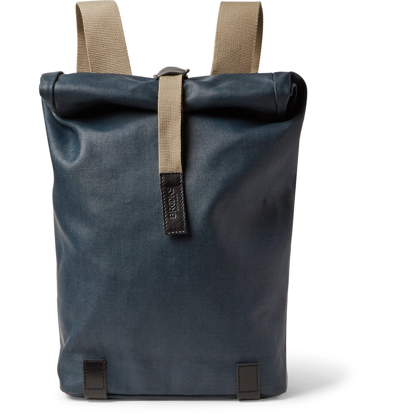 Photo: Brooks England - Pickwick Small Leather-Trimmed Coated Cotton-Canvas Backpack - Blue