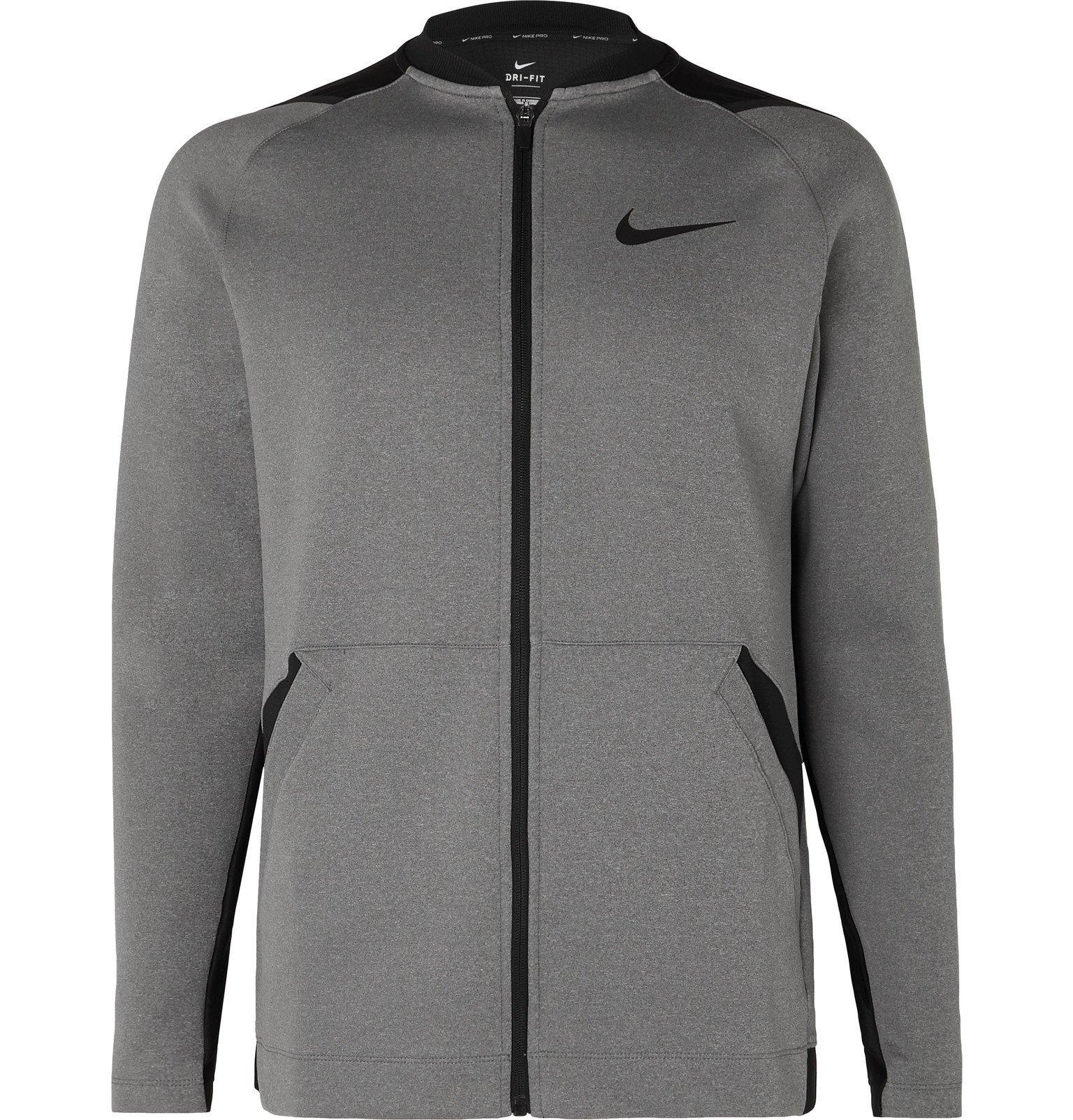 Photo: Nike Training - Pro Logo-Print Dri-FIT Zip-Up Top - Gray