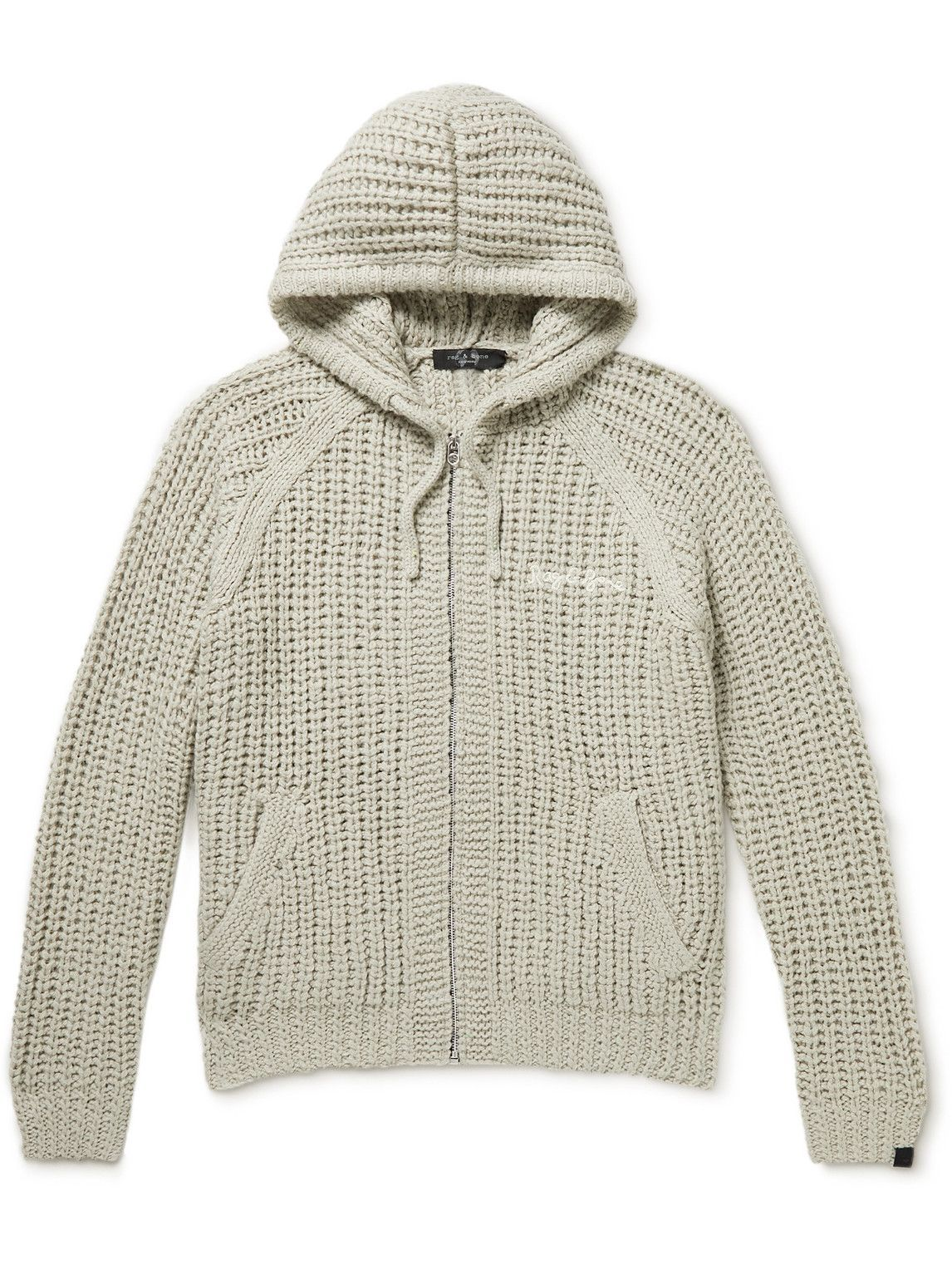 Photo: Rag & Bone - Logo-Embroidered Ribbed-Knit Zip-Up Hoodie - Gray