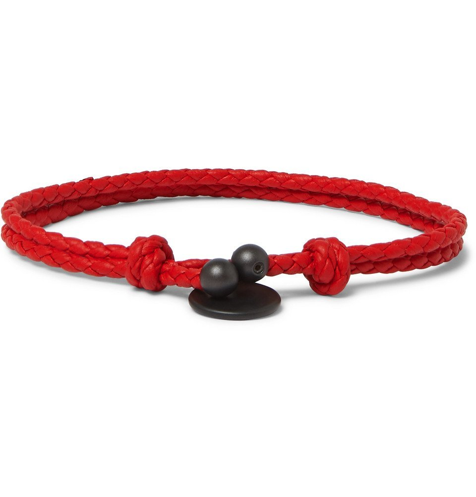 Photo: Bottega Veneta - Intrecciato Leather Wrap Bracelet - Red