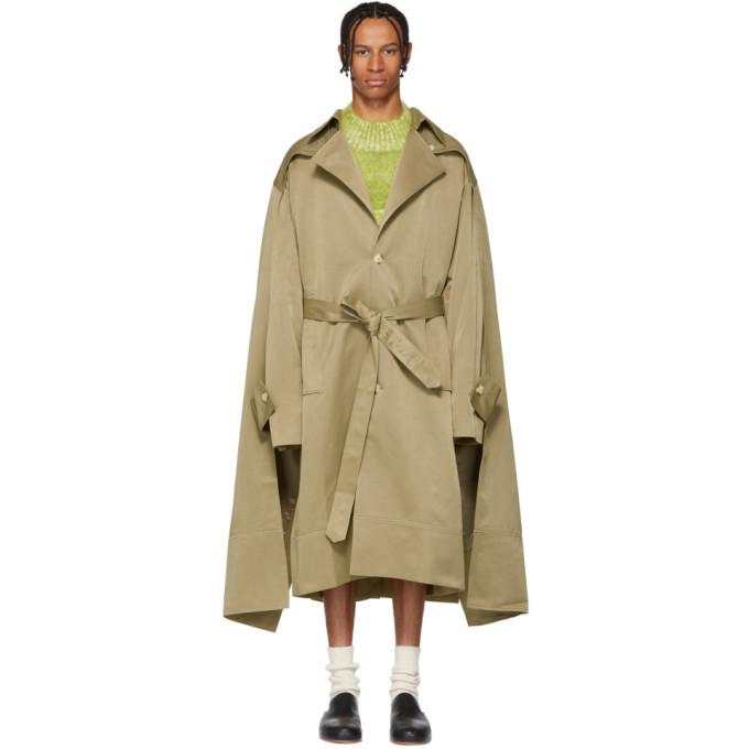 Photo: Chin Mens Khaki Double Cloak Trench Coat