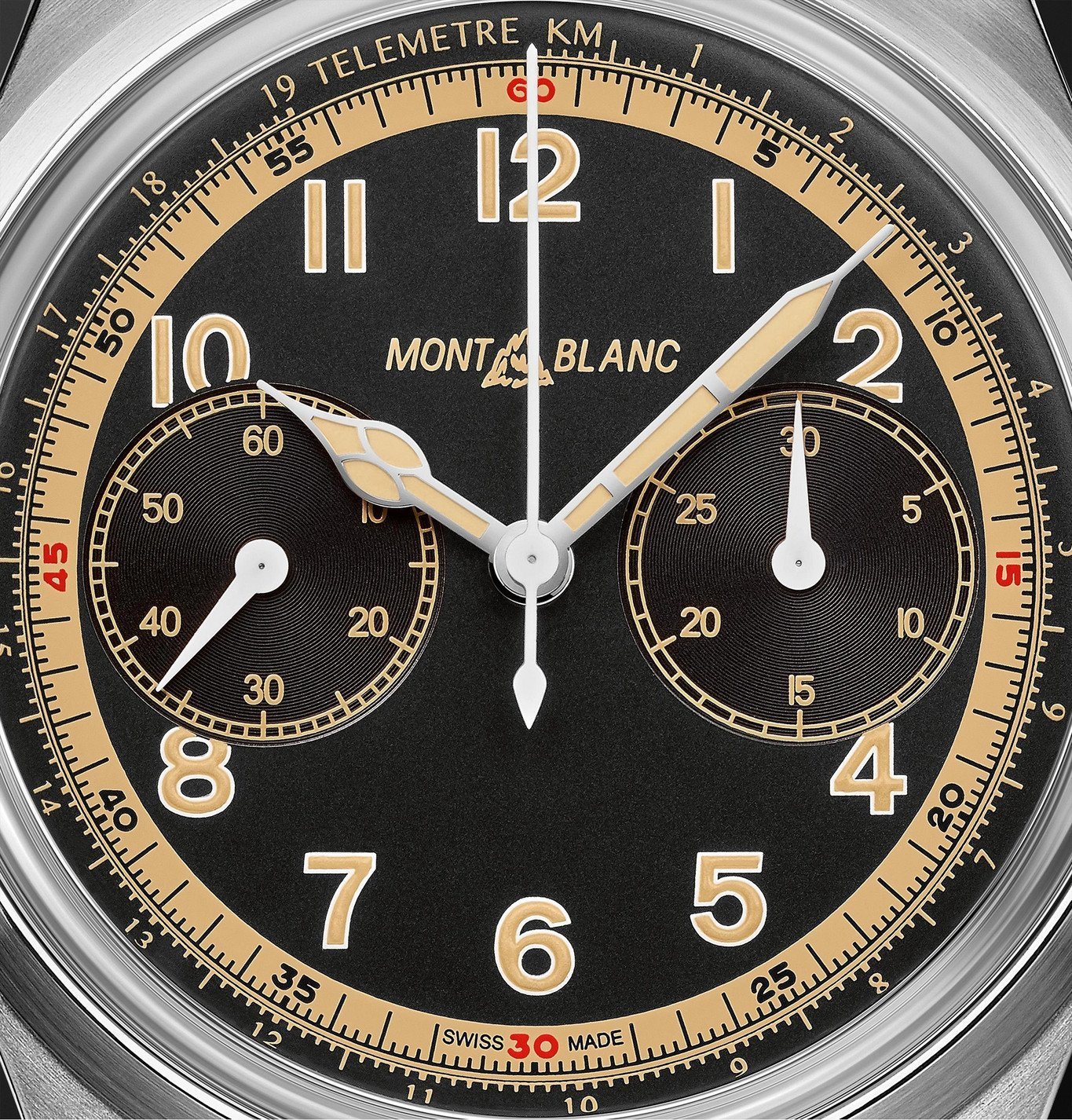 Montblanc - 1858 Monopusher Automatic Chronograph 42mm Stainless Steel and Leather Watch, Ref. No. 125581 - Black