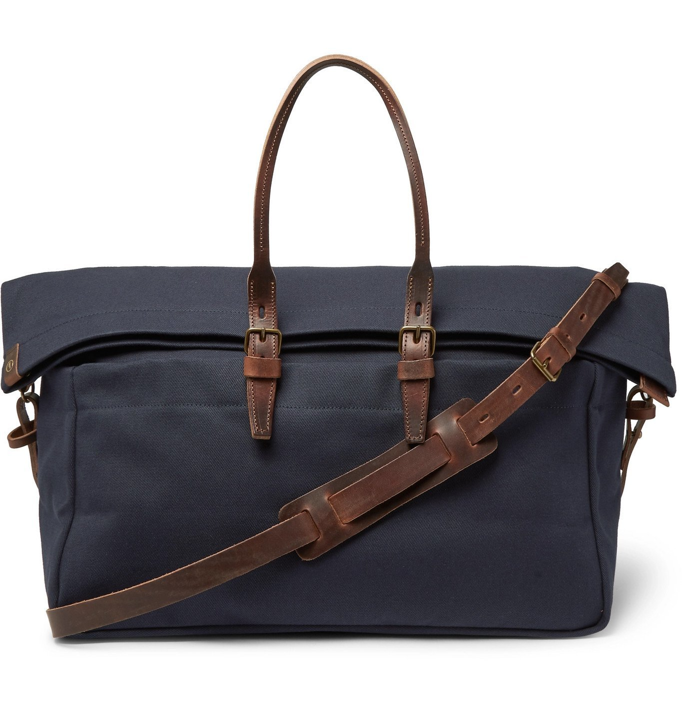 Photo: Bleu de Chauffe - Cabine Leather-Trimmed Canvas Holdall - Blue