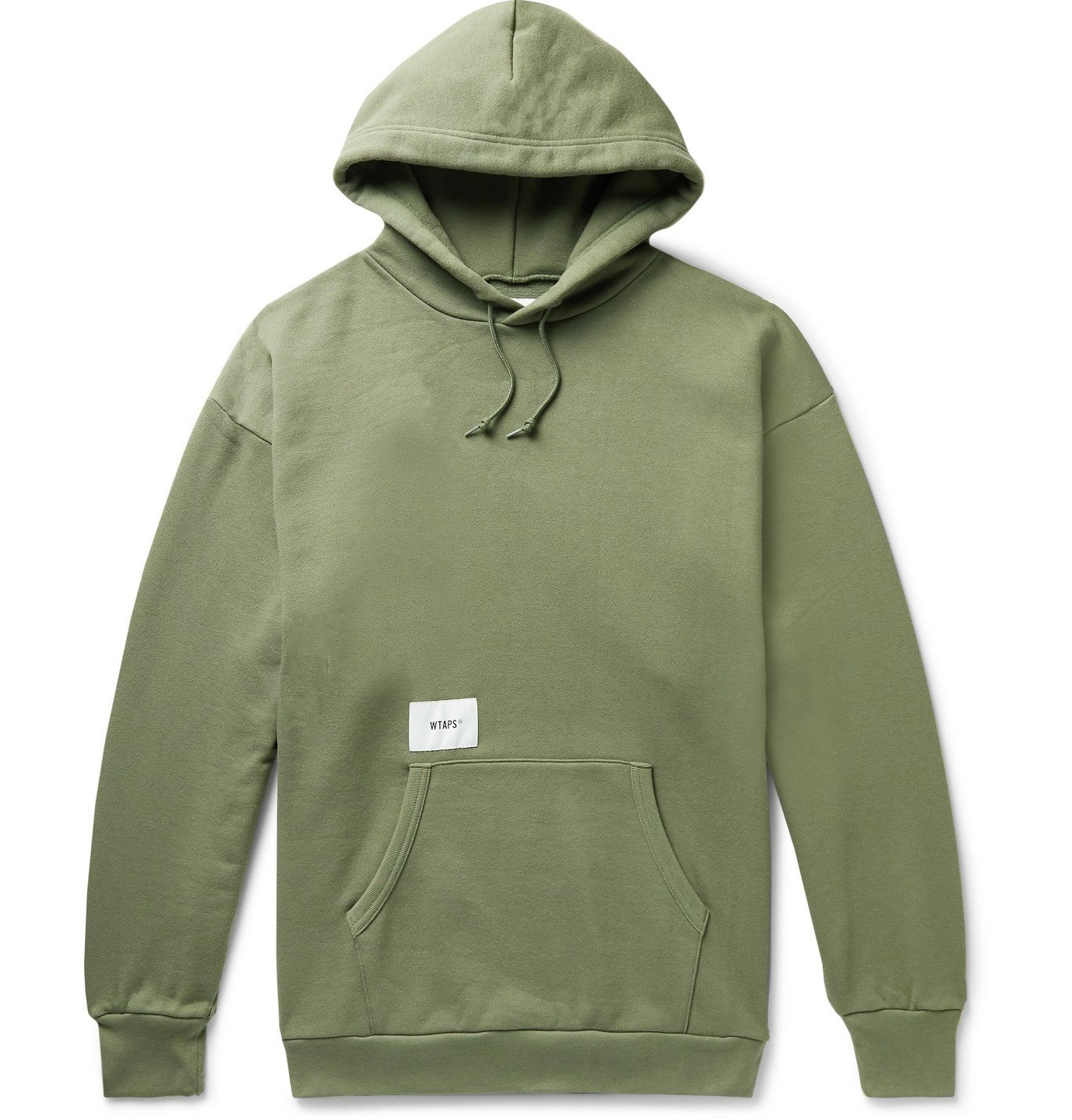 Photo: WTAPS - Academy Appliquéd Logo-Print Fleece-Back Cotton-Blend Jersey Hoodie - Green