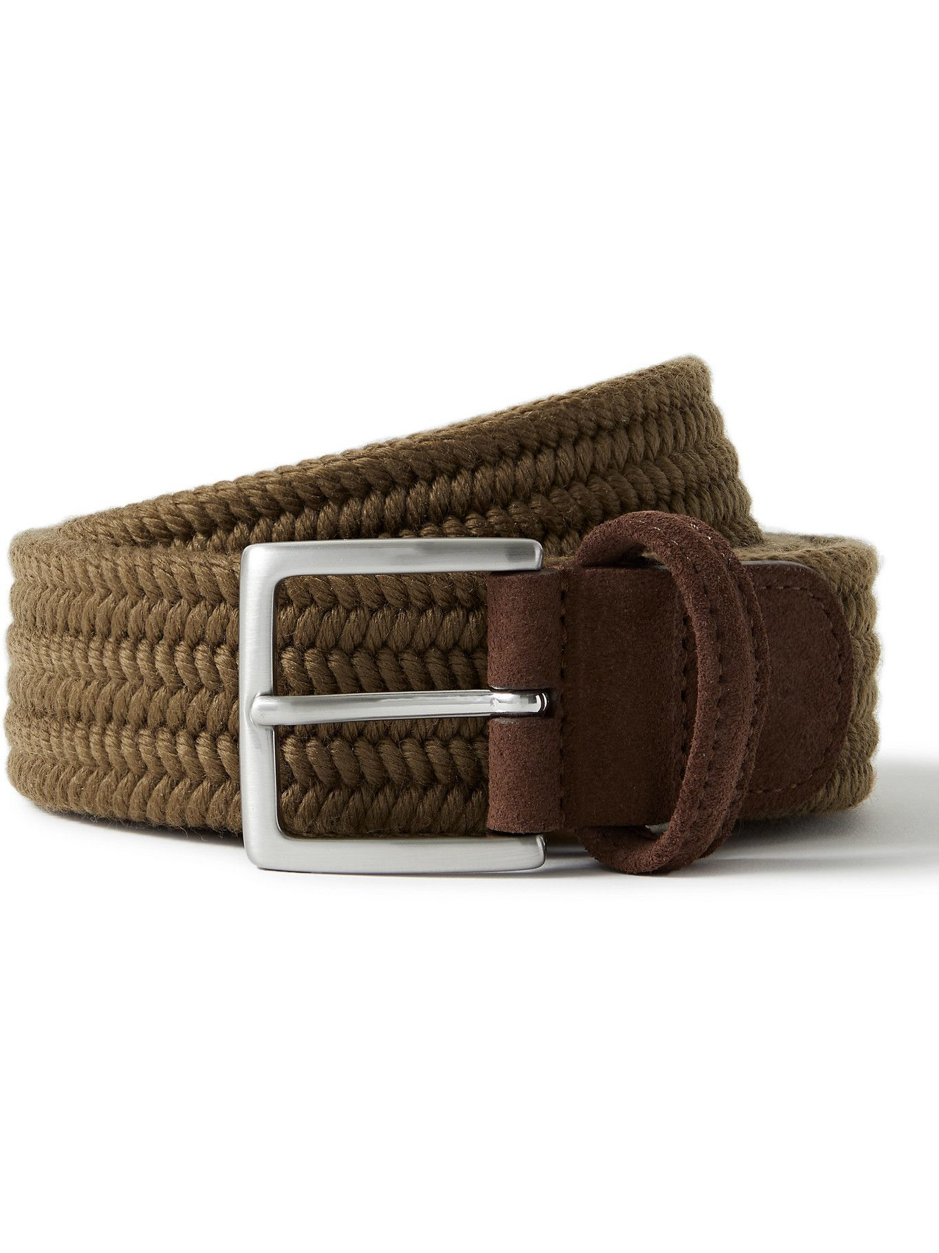 Photo: ANDERSON'S - 3.5cm Suede-Trimmed Woven Elastic Belt - Brown