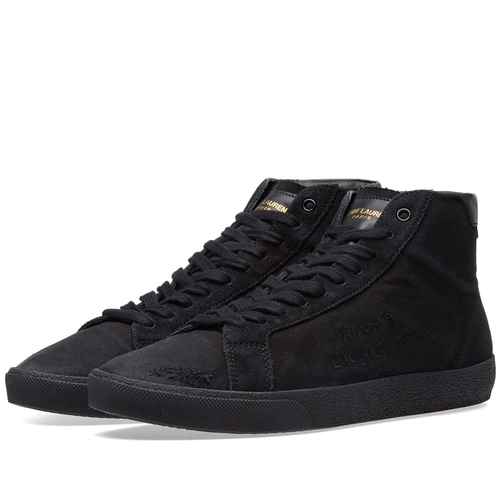 Photo: Saint Laurent SL-06 Mid Signature Canvas Sneaker