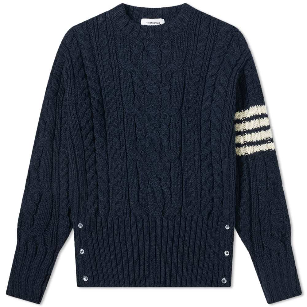Thom Browne Aran Cable 4 Bar Donegal Crew Knit