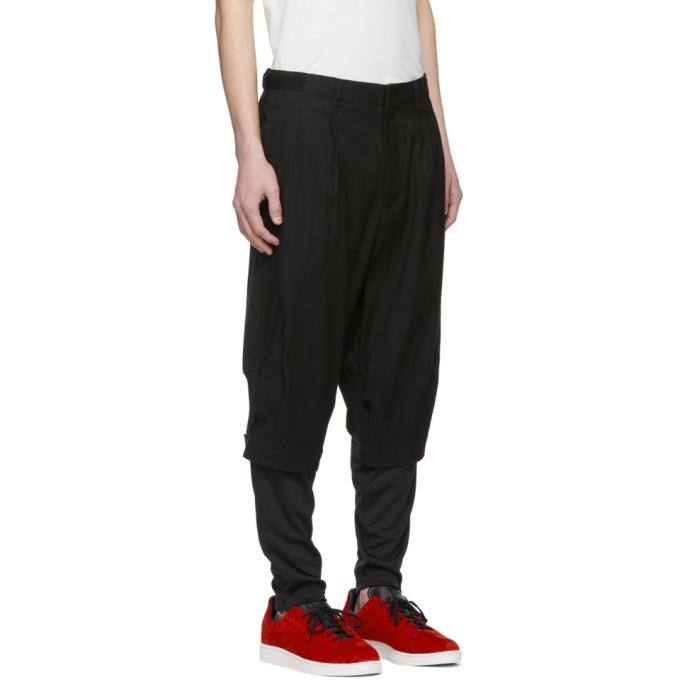 Y-3 Black Cotton Paper Trousers