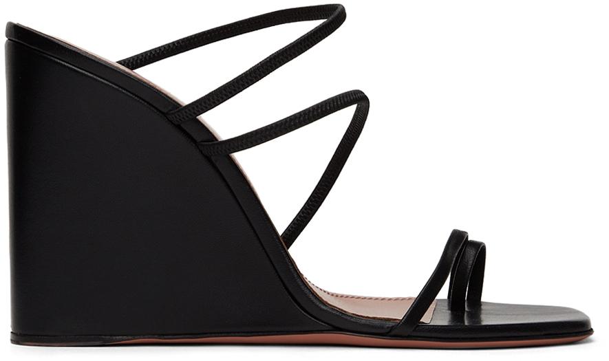 Photo: Amina Muaddi Black Naima Wedge Heeled Sandals