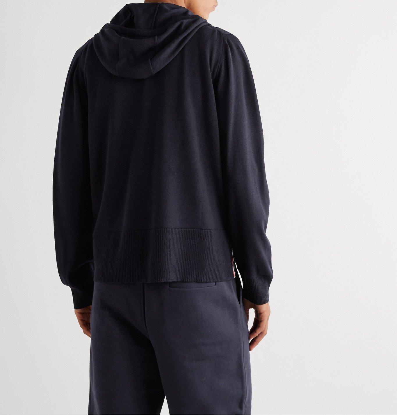 Thom Browne - Striped Grosgrain-Trimmed Merino Wool Zip-Up Hoodie - Blue