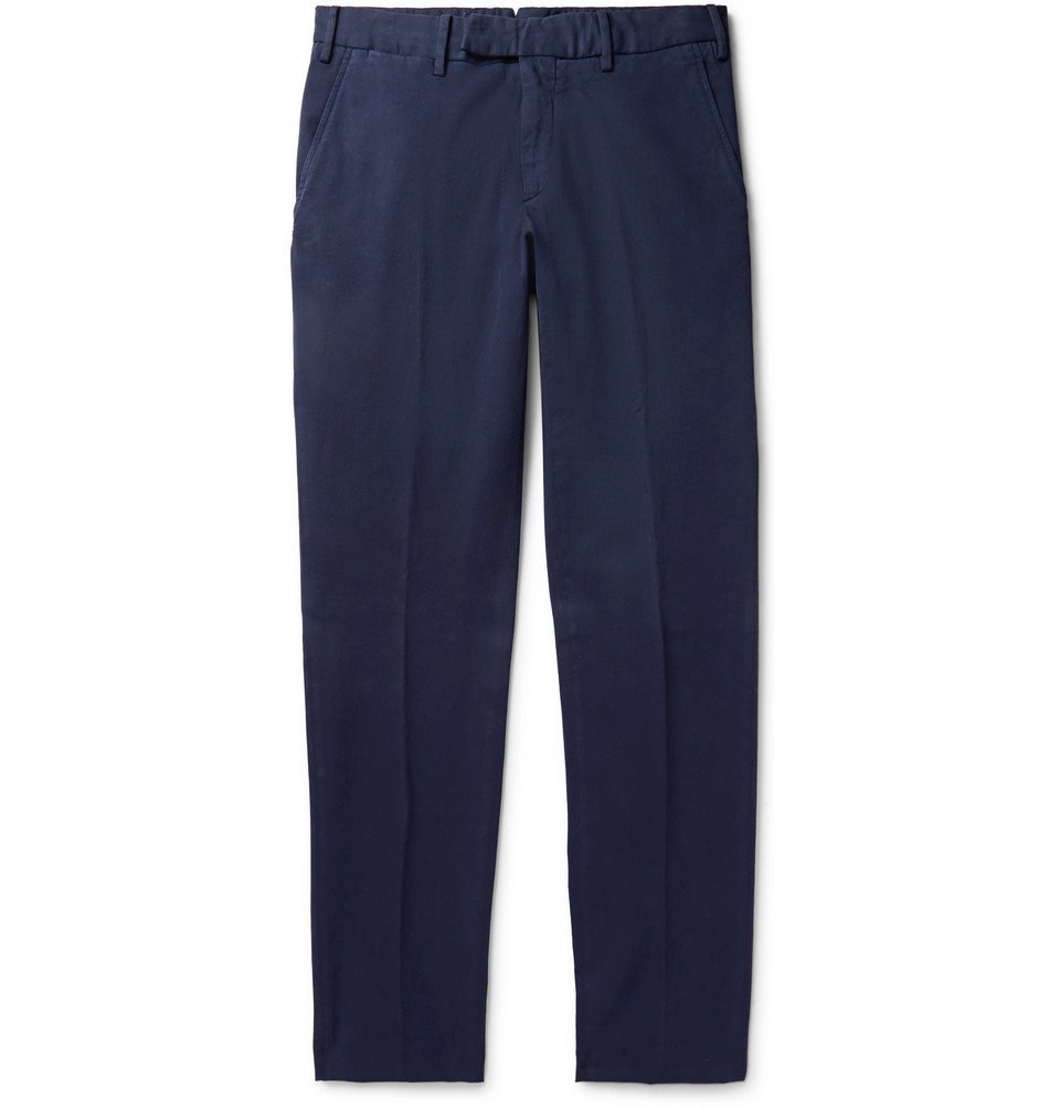Photo: Ermenegildo Zegna - Navy Slim-Fit Garment-Dyed Cotton-Blend Trousers - Navy