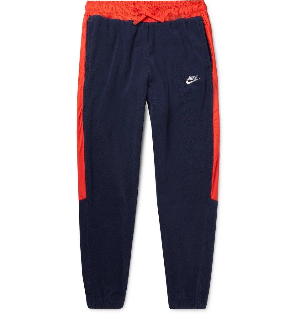 Photo: Nike - Tapered Shell-Trimmed Fleece Sweatpants - Men - Navy