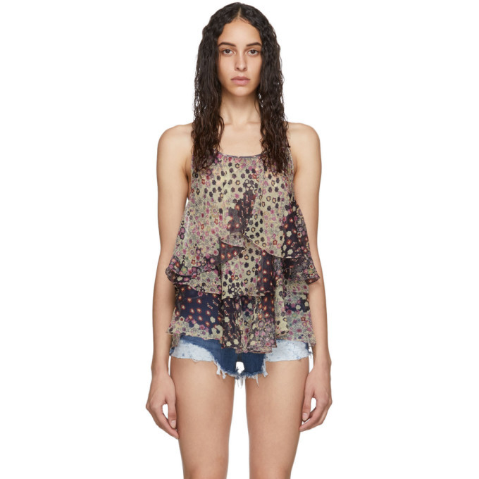 Photo: Dsquared2 Multicolor Silk Ophelia Tank Top