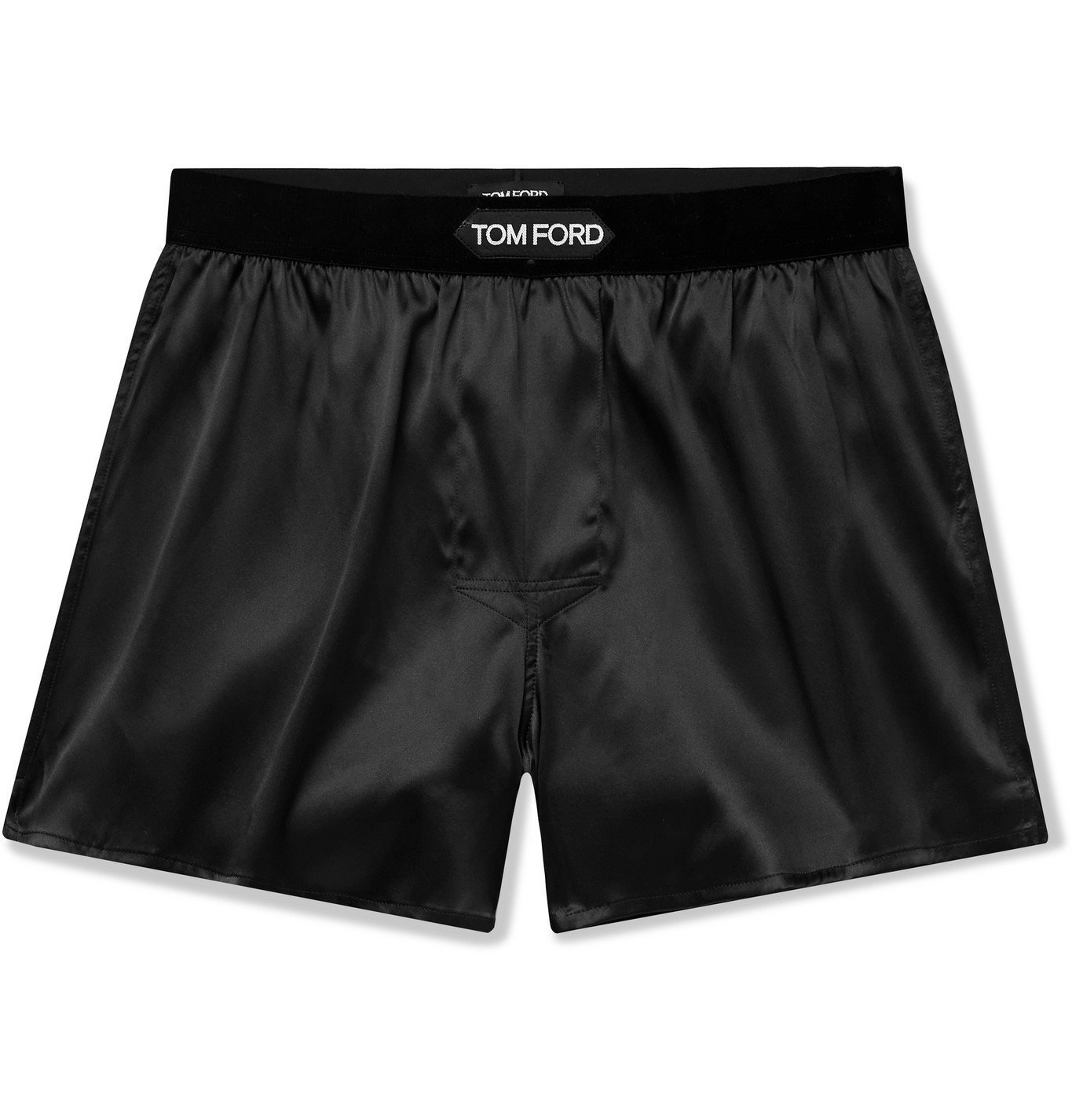 Photo: TOM FORD - Velvet-Trimmed Stretch-Silk Satin Boxer Shorts - Black