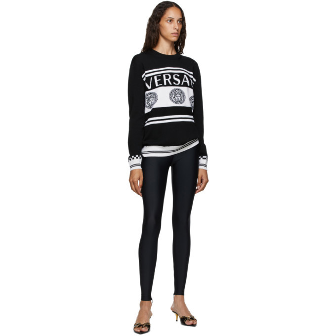 Versace Black and White Vintage Medusa Sweater