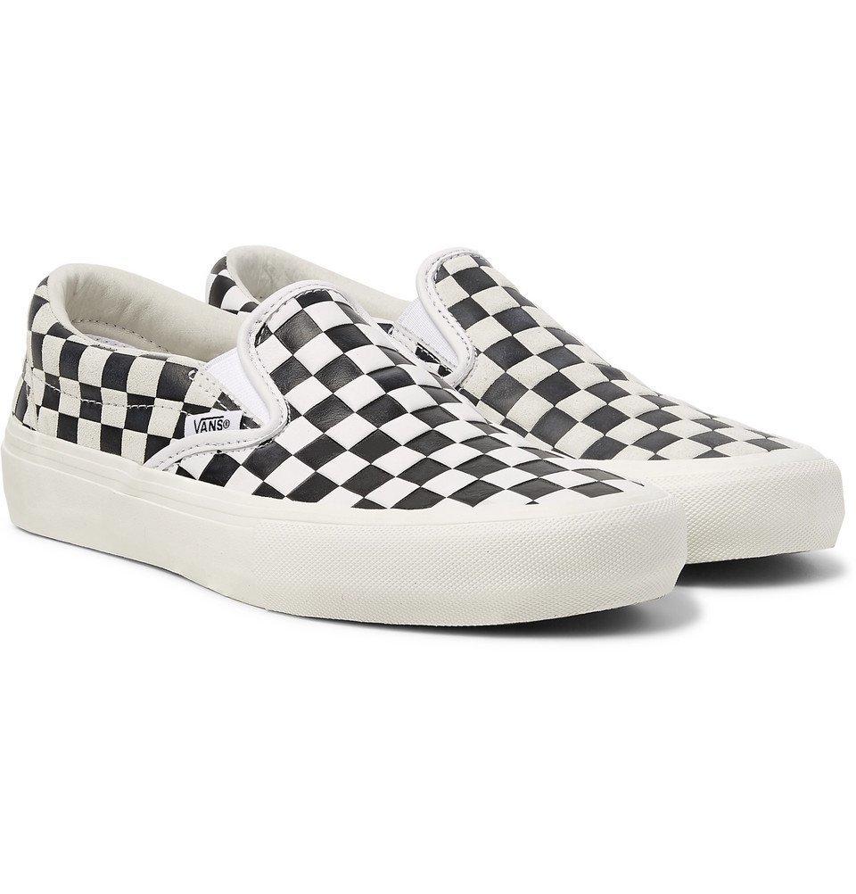 vans slip on checkerboard leather