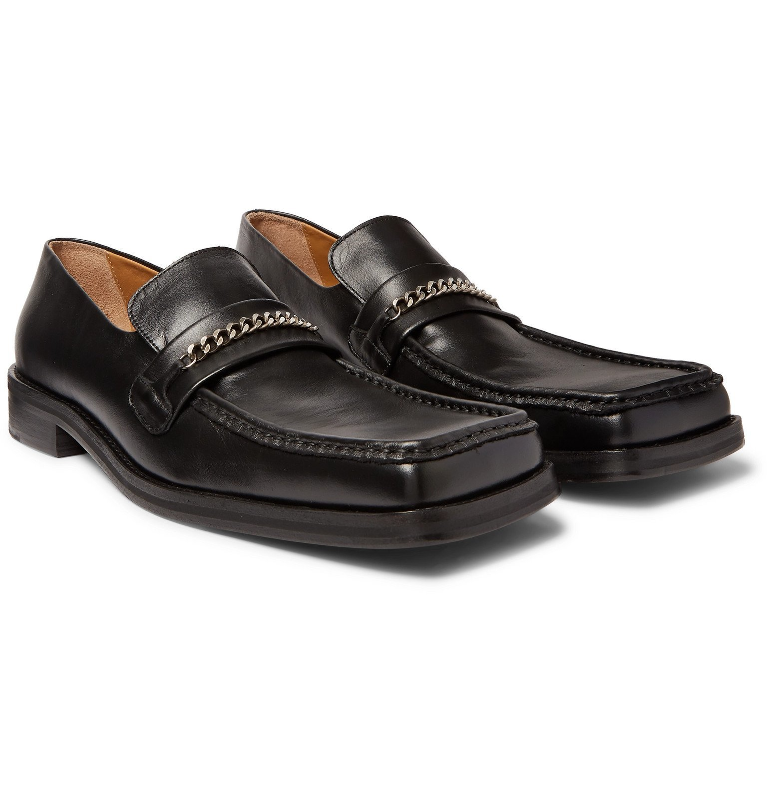 Photo: Martine Rose - Chain-Trimmed Leather Loafers - Black