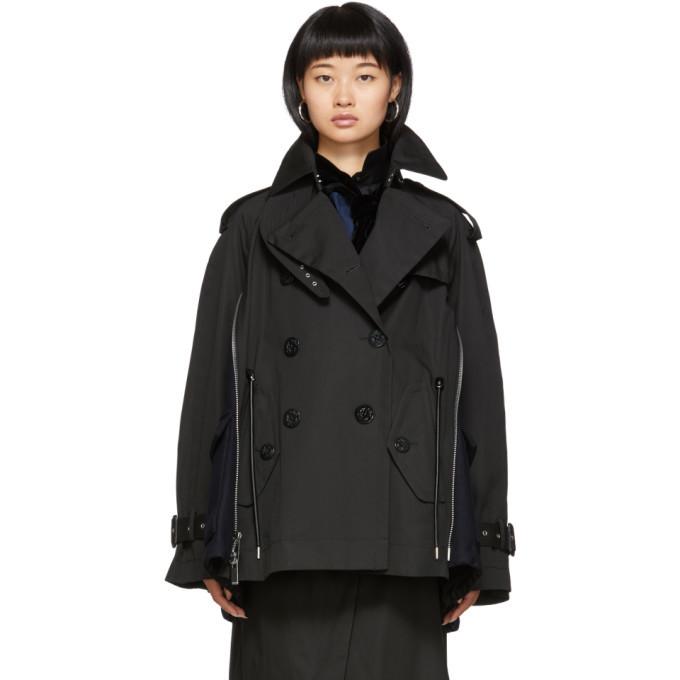 Sacai Black and Navy Coated Cotton Jacket
