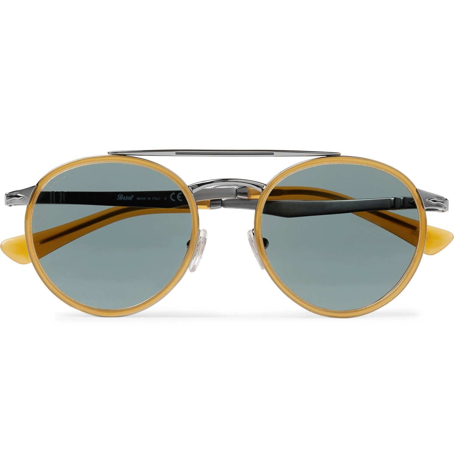 Photo: Persol - Round-Frame Acetate and Silver-Tone Sunglasses - Yellow