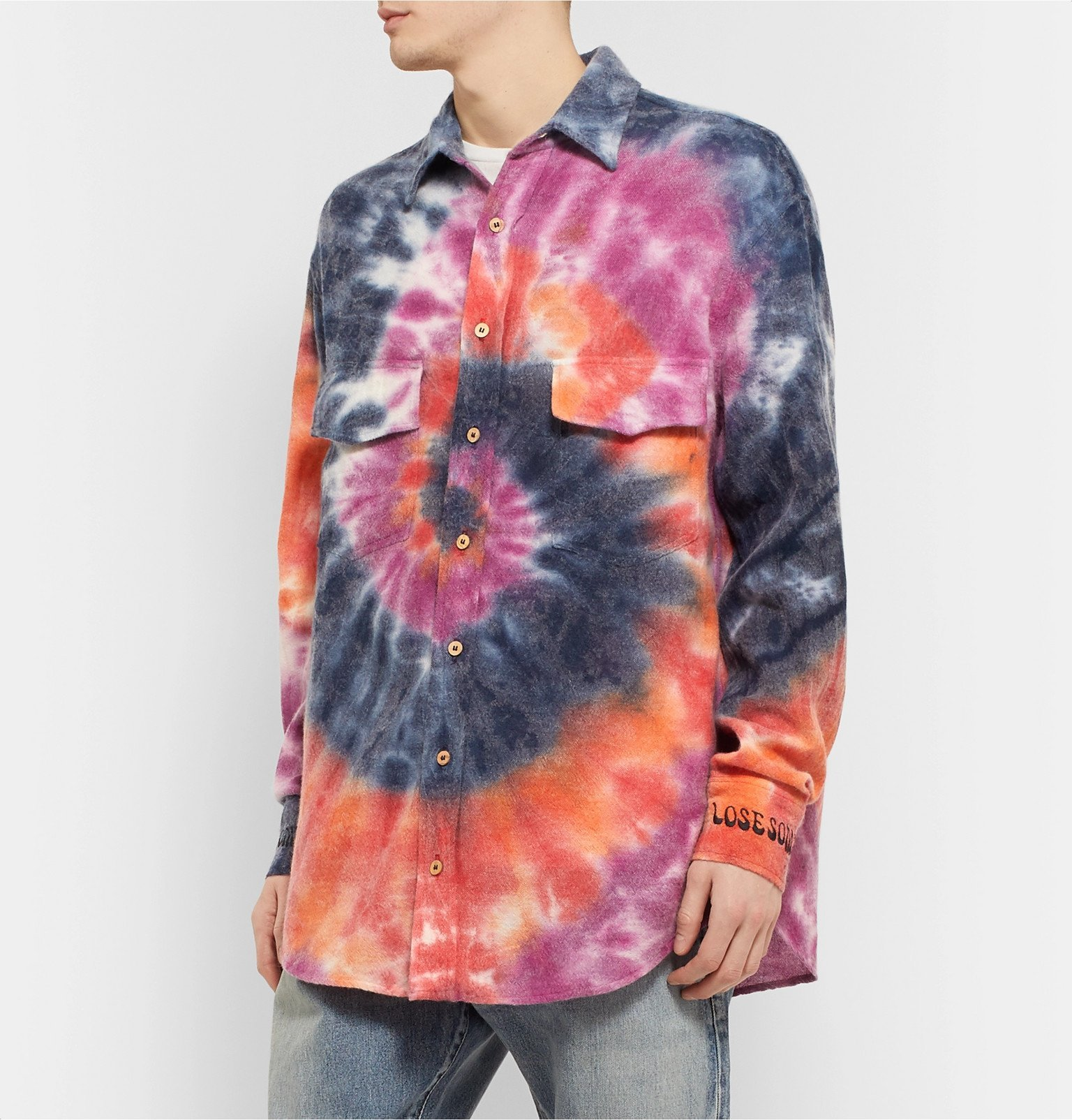The Elder Statesman - Oversized Tie-Dyed Wool, Cashmere and Cotton-Blend Flannel Shirt - Multi