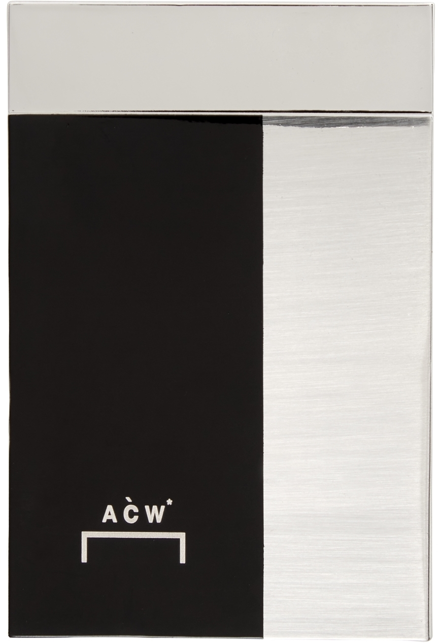 Photo: A-COLD-WALL* Black & Silver Inset Rectangle Pin