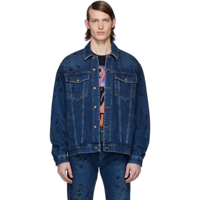 Photo: McQ Alexander McQueen Blue Denim Painted Vintage Jacket