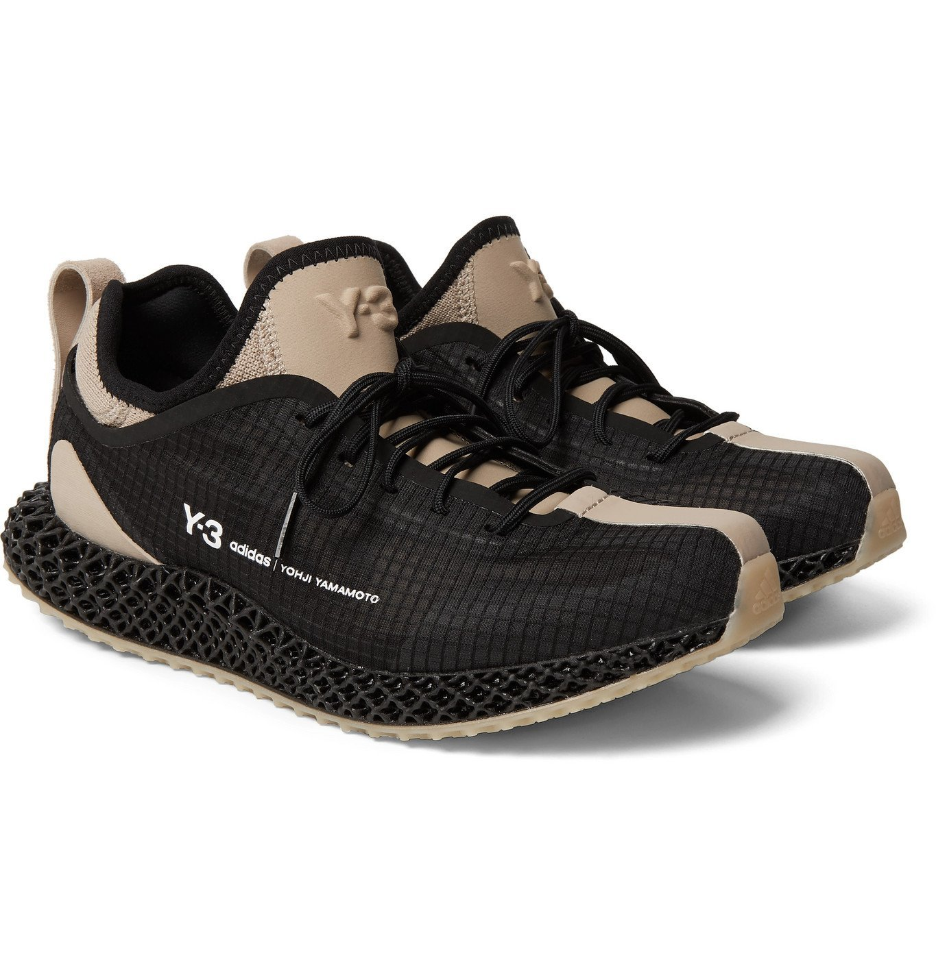 Photo: Y-3 - Runner 4D IO Suede and Neoprene-Trimmed Ripstop and Primeknit Sneakers - Black