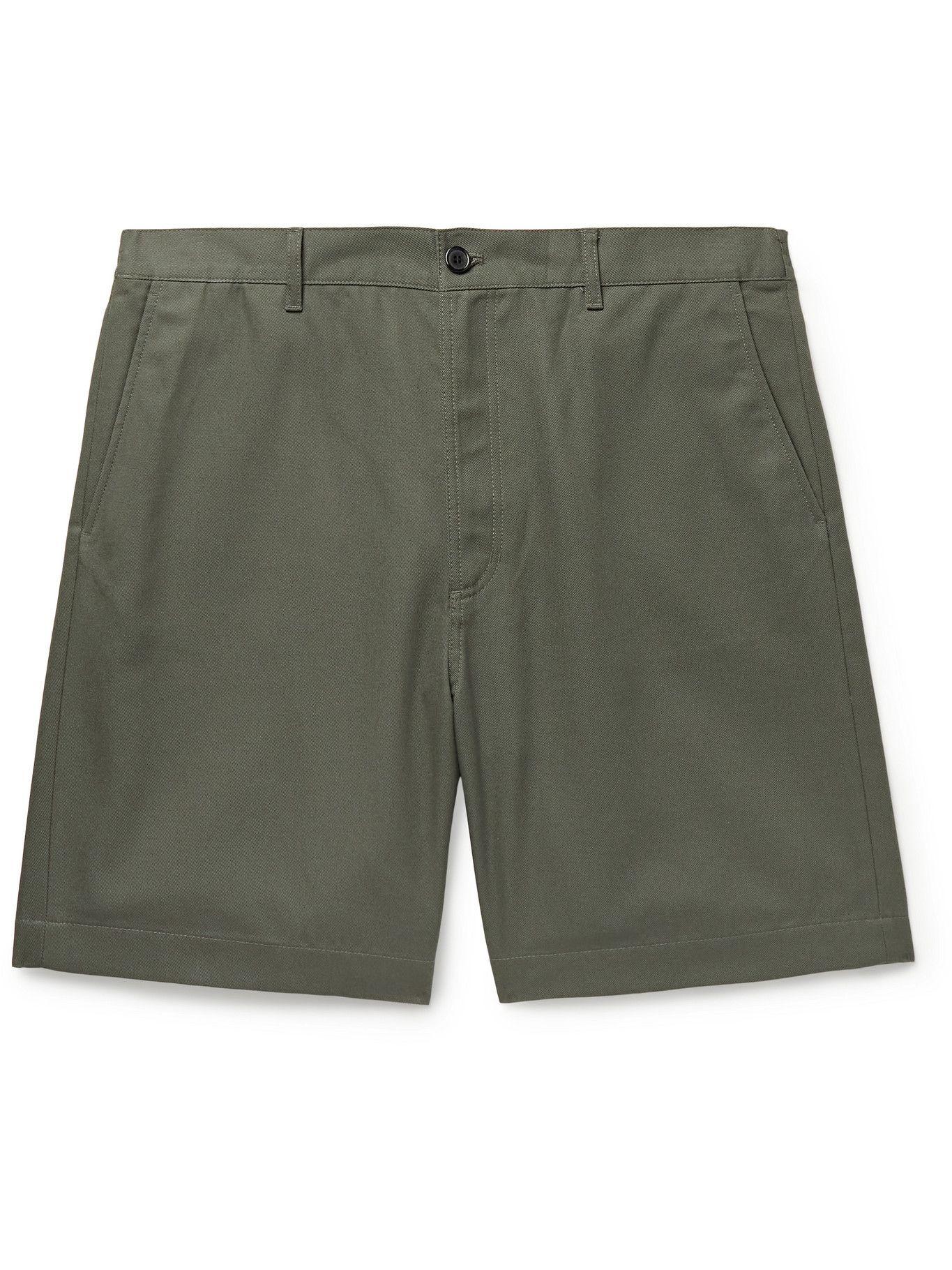 Photo: ACNE STUDIOS - Wide-Leg Cotton-Blend Twill Shorts - Green
