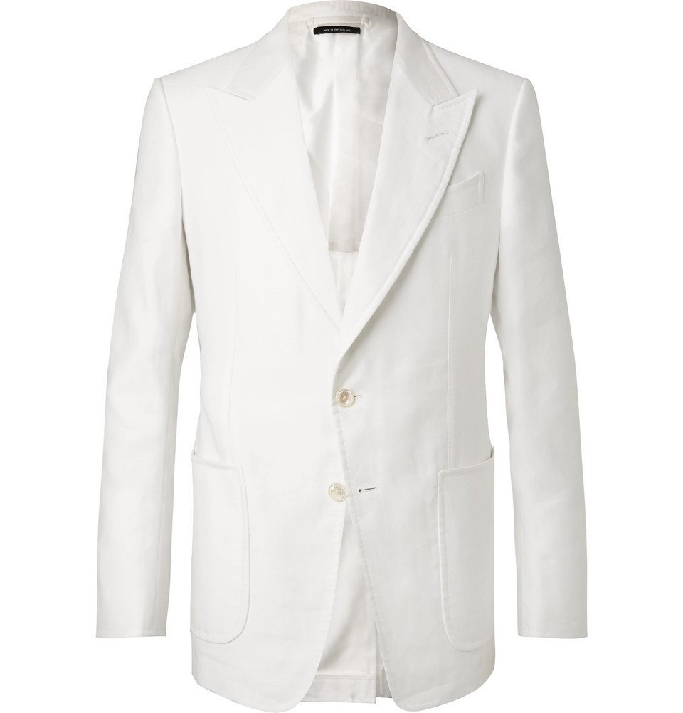Photo: TOM FORD - White Shelton Slim-Fit Cotton and Linen-Blend Suit Jacket - White